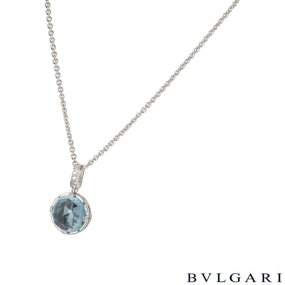 Bvlgari White Gold Aquamarine Parentesi Necklace